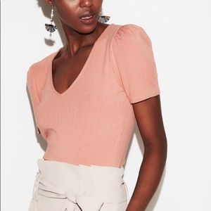Ribbed Puff Sleeve V-Neck Top